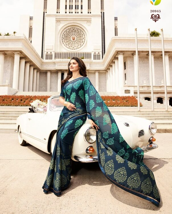 Essence of Royal Designer Printed Georgette Silk Saree in Steal Blue Double Shade