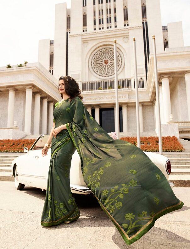 Georgette Silk Prachi Desai Style Royal Saree in Green Bordered