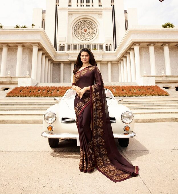 Prachi Desai Style Printed Saree in Silk Georette in Grape Colour