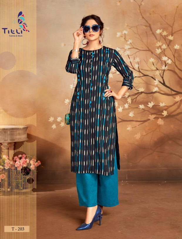 Essence Royal Checks Print Balack and Blue Kurta with Plazo