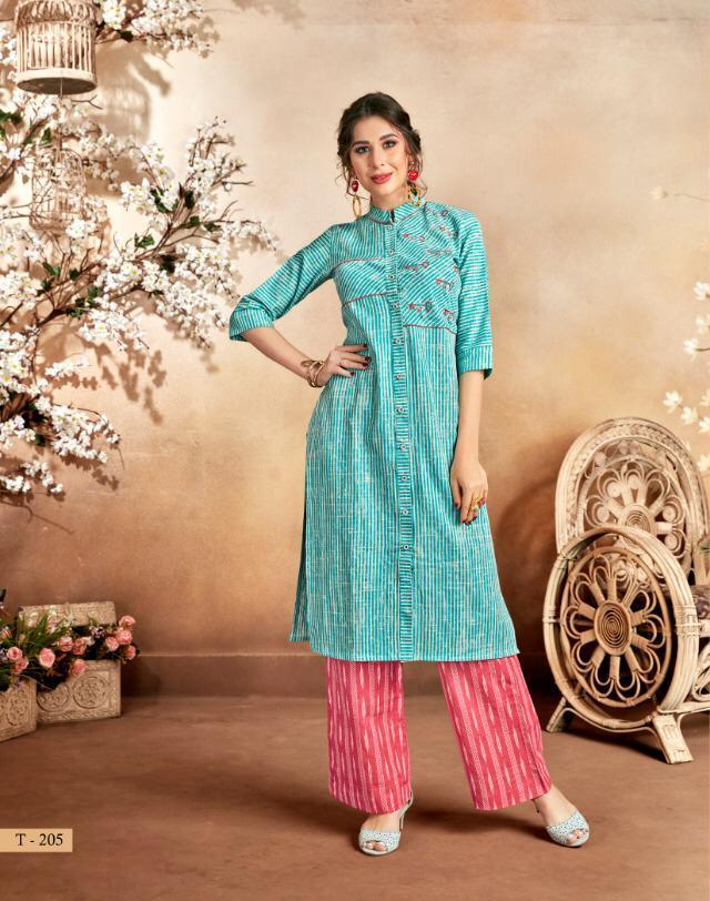 Sky Blue Colour Stylish Kurti with Plazo