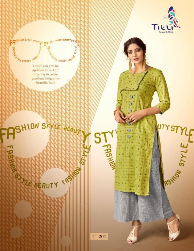 Lime Colour Stitched Palazo with Long Kurti