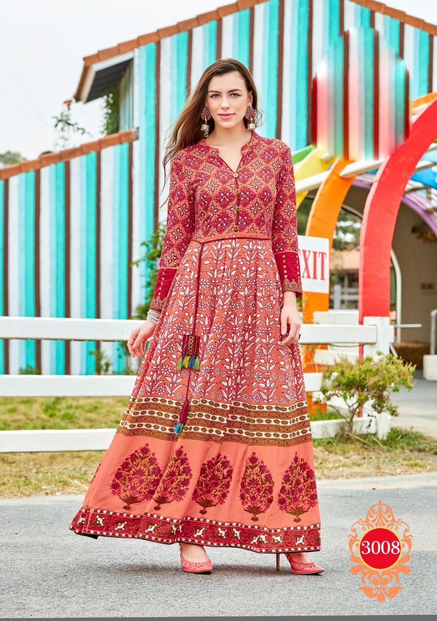 Latest Fashion Anarkali Style Knee Length Kurta Carrot Colour