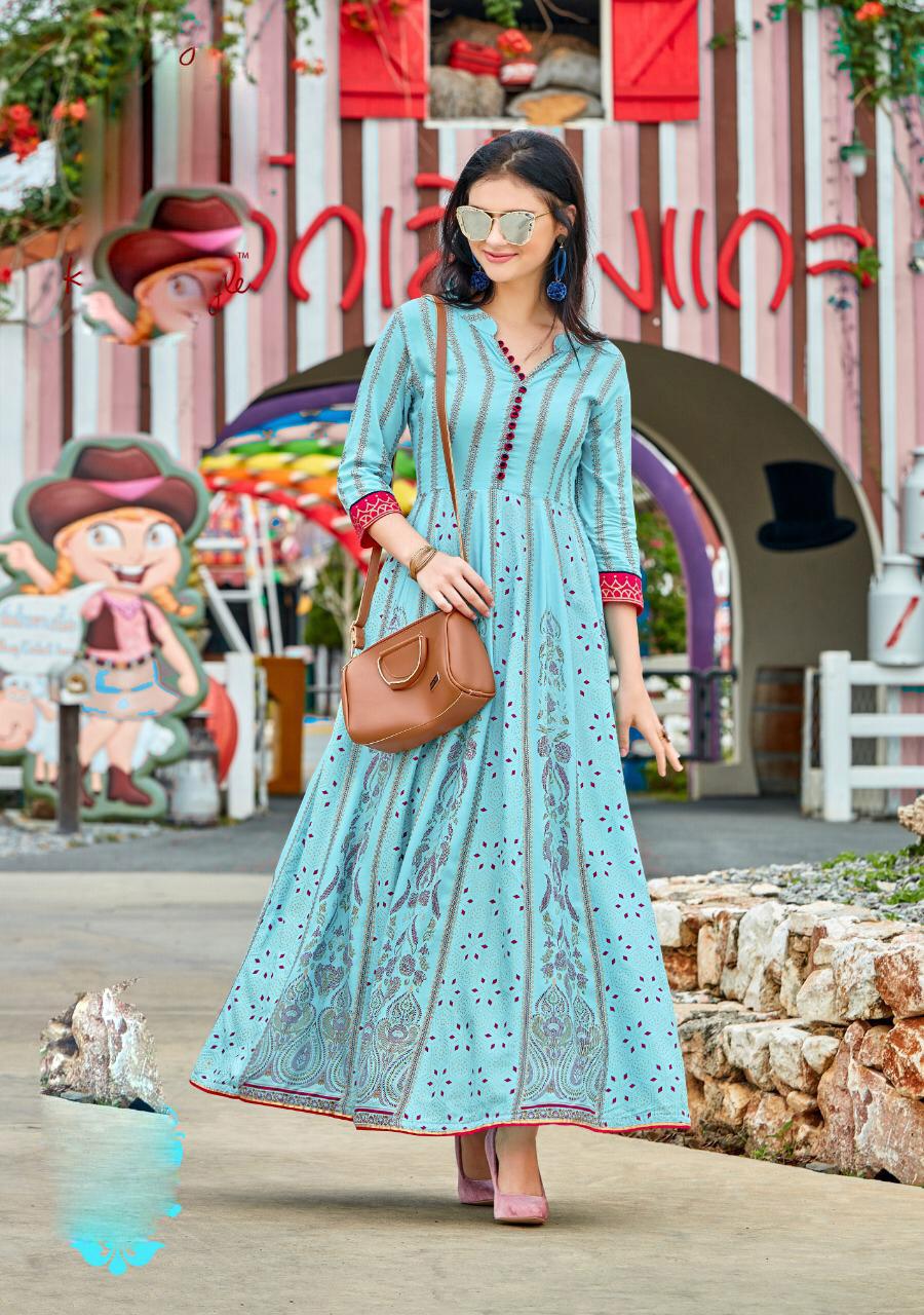 New Fashion Stylish Summer Wear for Women Long Kurta Sky Blue Colour