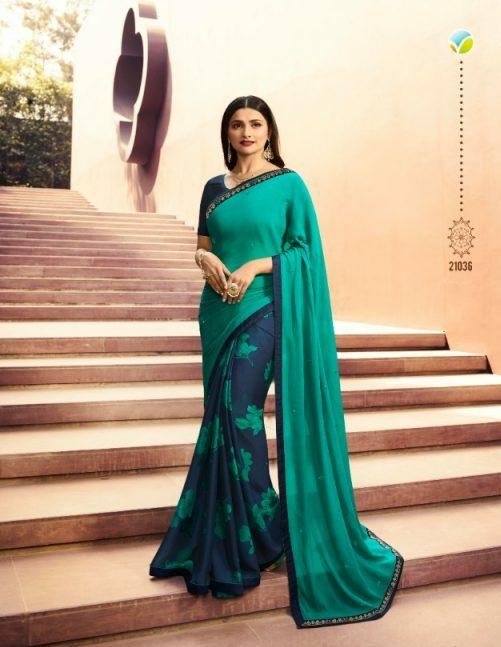 Prachi Desai Azure Colour Saree