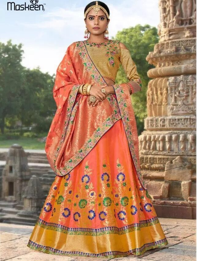 Apricot Colour Latest Fashion Lehenga