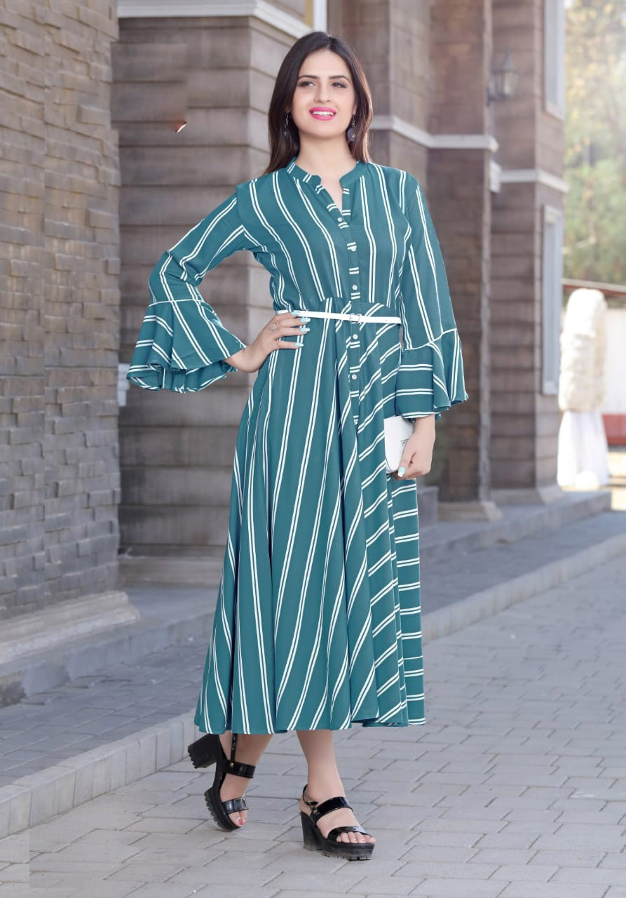 White Line Check Print on Jade Background Latest Style Kurti with Collar Neck