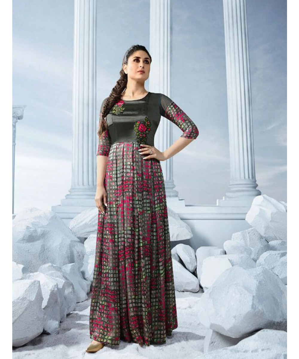 Kareena Bebo Bollywood Style Designer Gown in Charcoal Colour