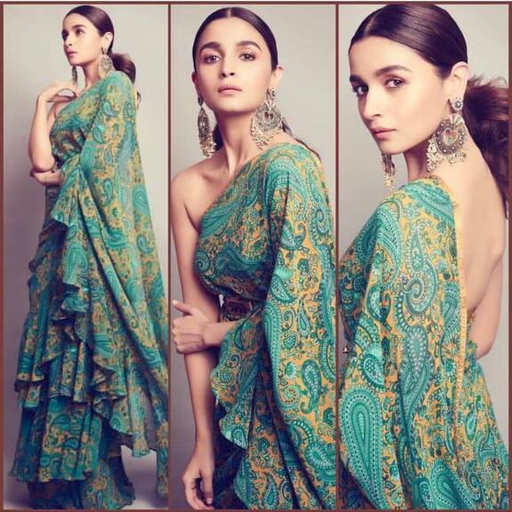 Alia Bhatt in Saree Image Bollywood Style Ruffle Saree