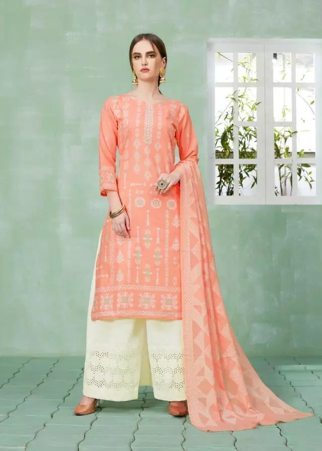 Best Plazo Salwar Suits in Carrot Colour and White Plazo with Dupatta