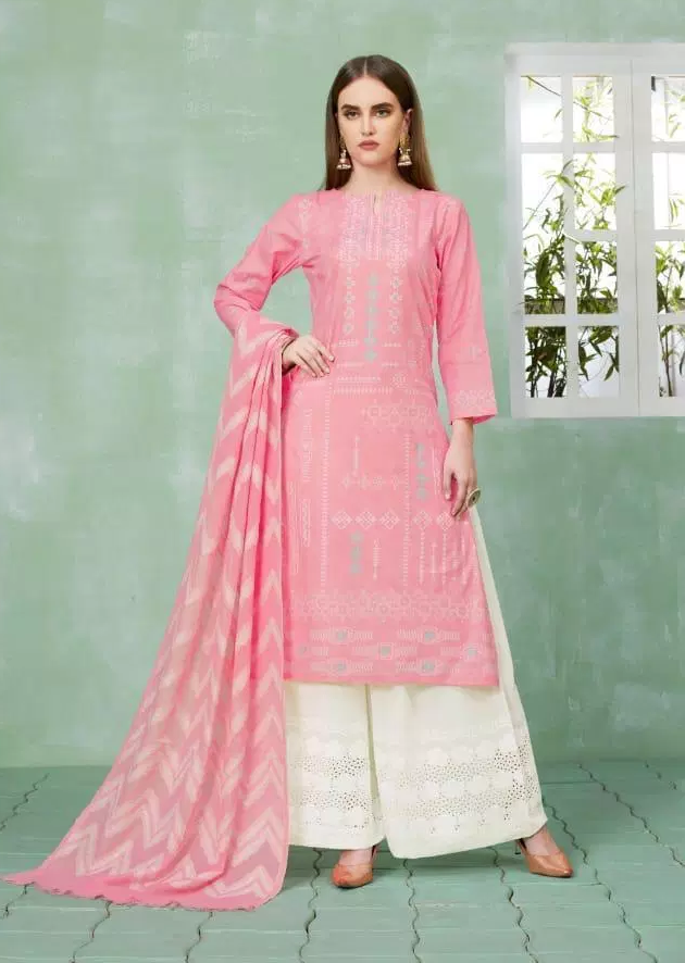 Best Plazo Salwar Suits in Pink and White Plazo with Dupatta
