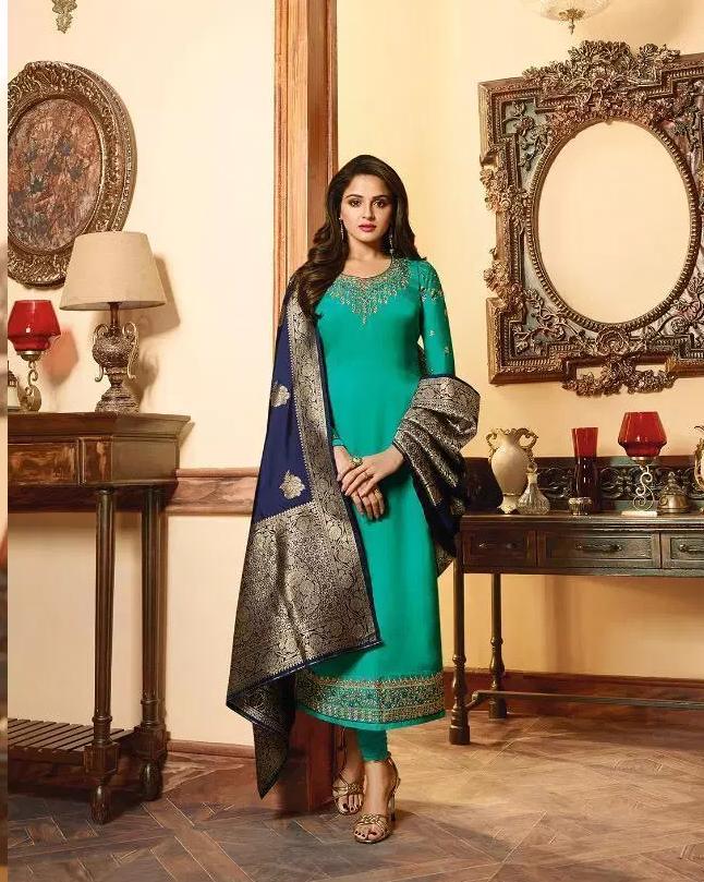 Heavy Embroidery Wedding Party Wear Deep Sky Blue Colour Salwar Suits with Banarasi Dupatta