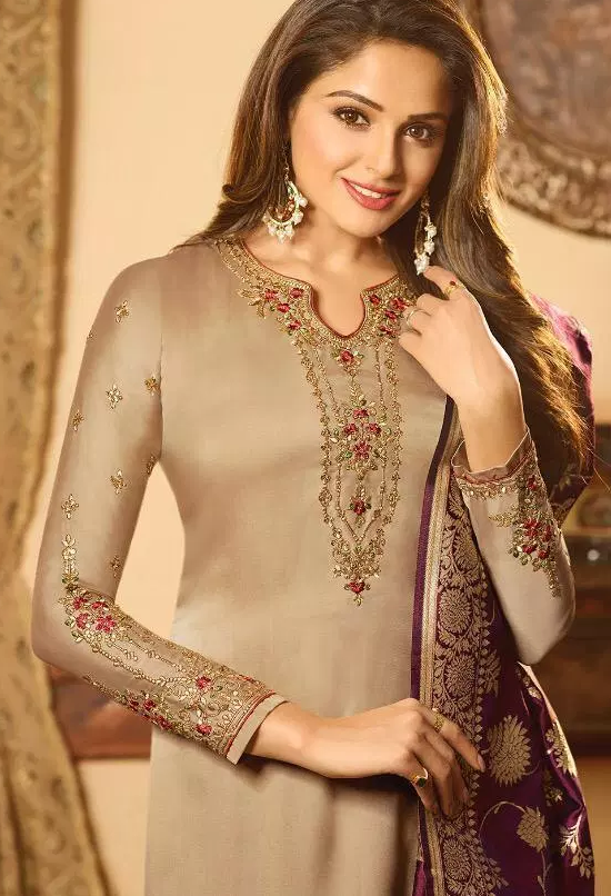 Heavy Embroidery Wedding Party Wear Almond Colour Salwar Suits