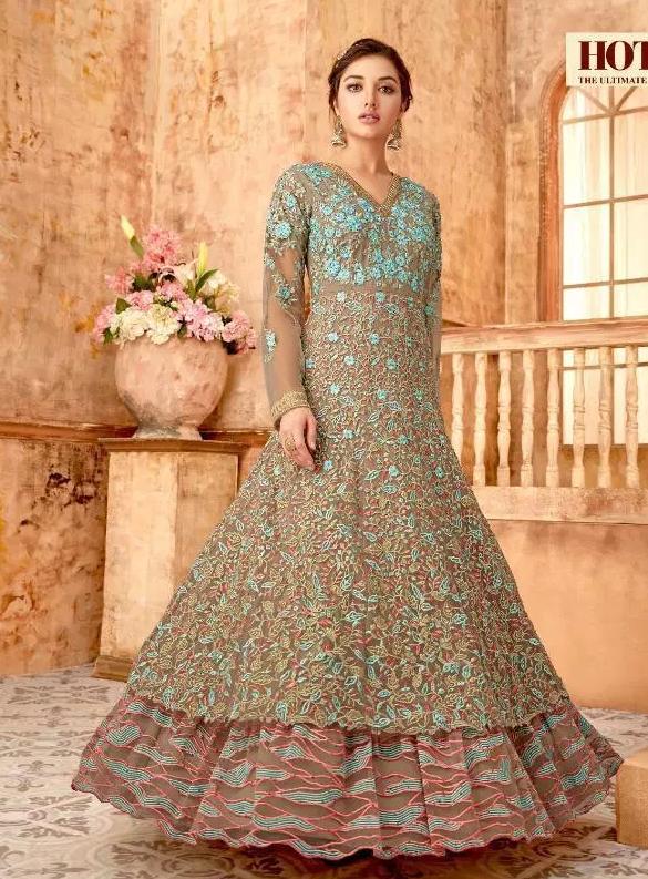 Grey Colour New Latest designer long Wedding Gown