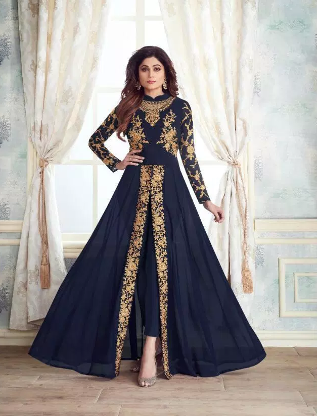 Navy Blue New latest Party Wear Long Crop Gown