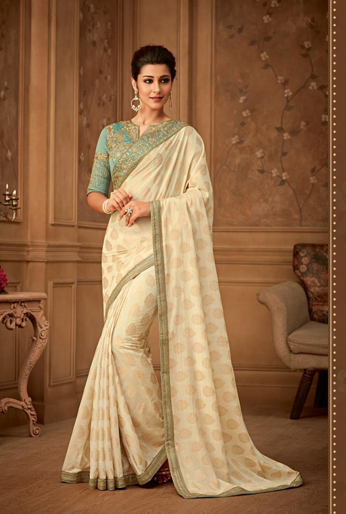 New Bela stylish Party wear Cream Colour Sarees