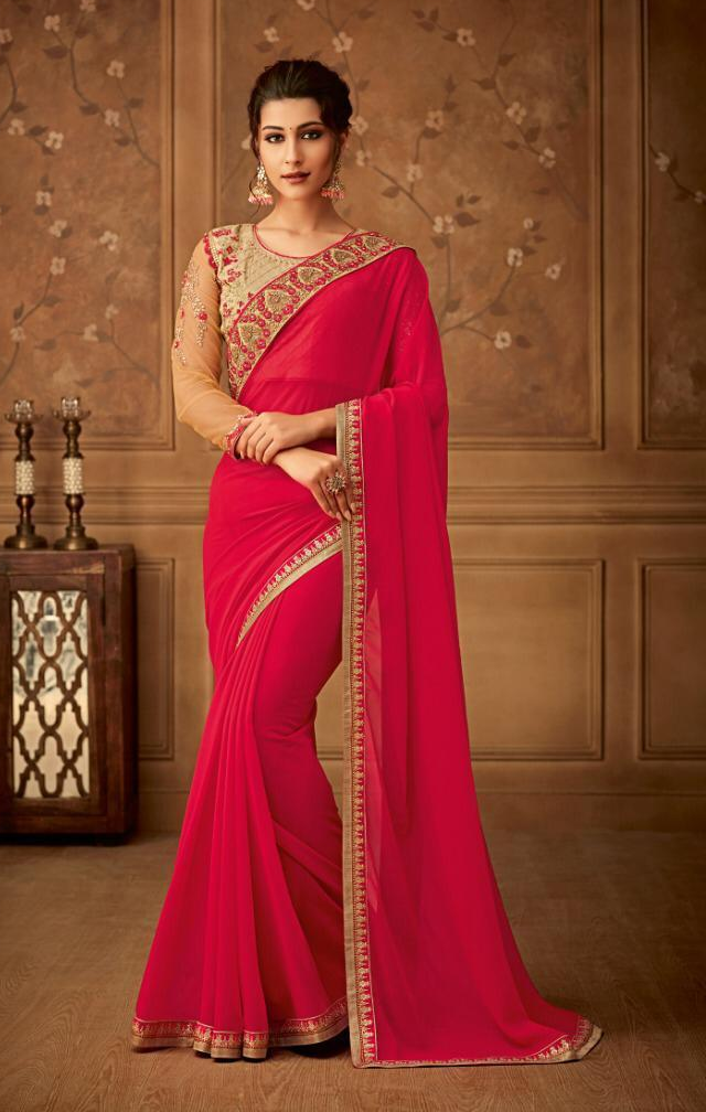 New Bela stylish party wear Dark pink Colour Sarees