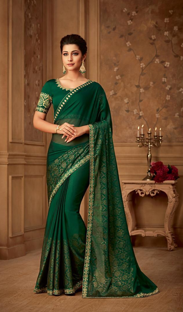 New Bela Stylish Party wear Green Colour Sarees