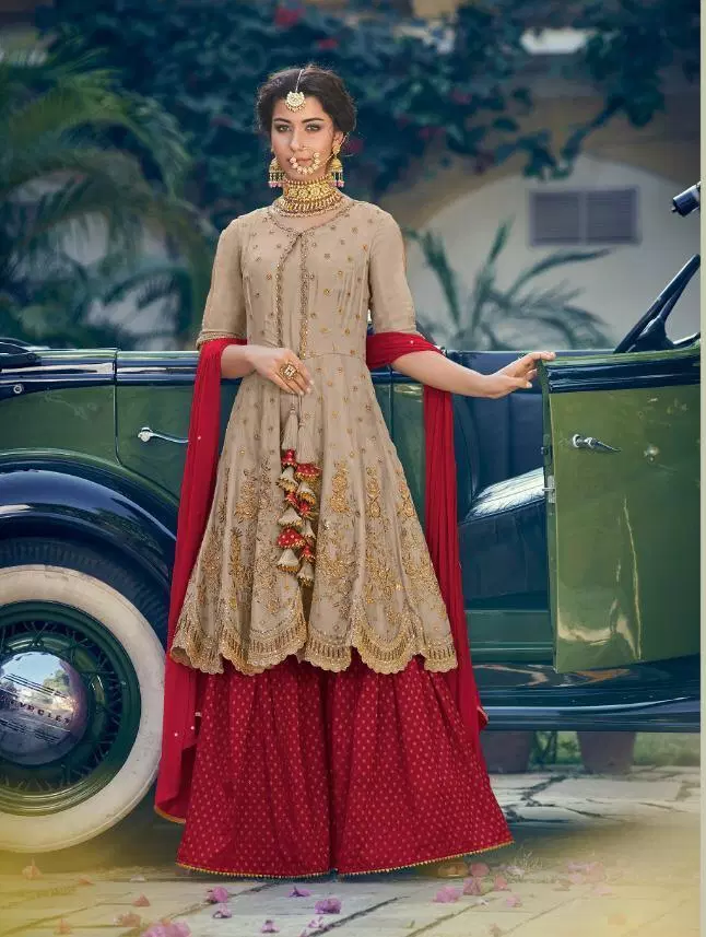 New Style Sarara Salwar Suits with Red Sarara