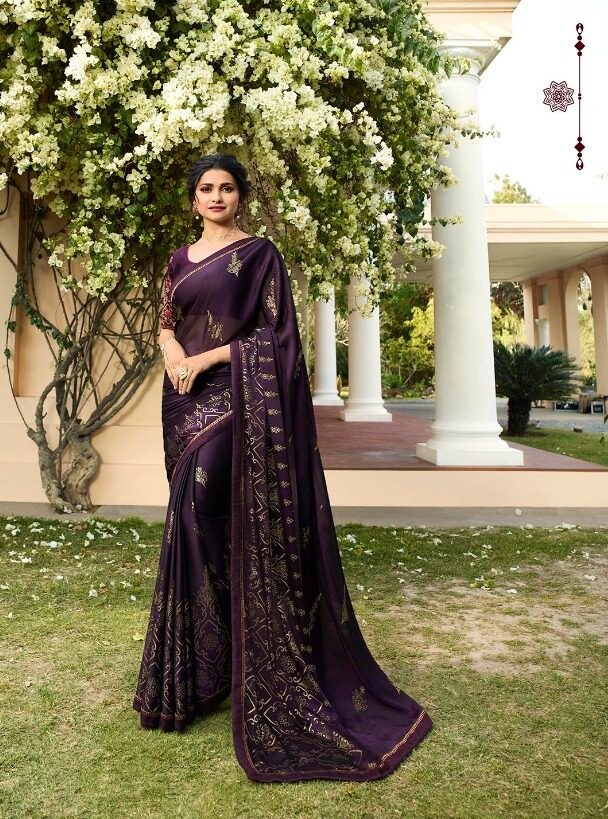 Royal Designer Royal Blue Colour Saree in Prachi Desai Style