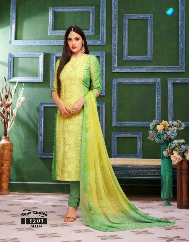 Shahi Collection Pure Cotton Lemon Colour Best Salwar Suits with Chiffon Dupatta
