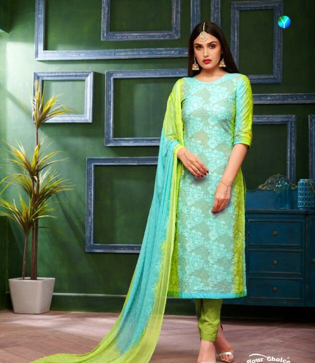 Shahi Collection Pure Cotton Turquoise Colour Best Salwar Suits with Chiffon Dupatta