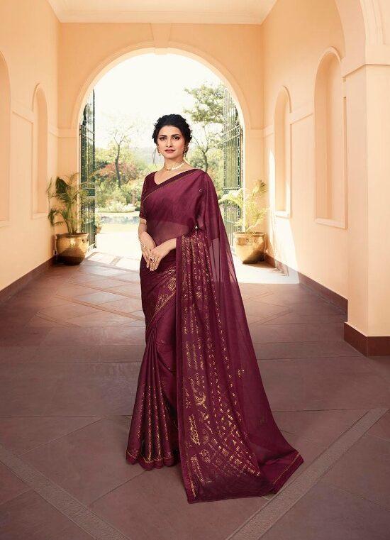 Plum Colour Saree in Bollywood Style Prachi Desai