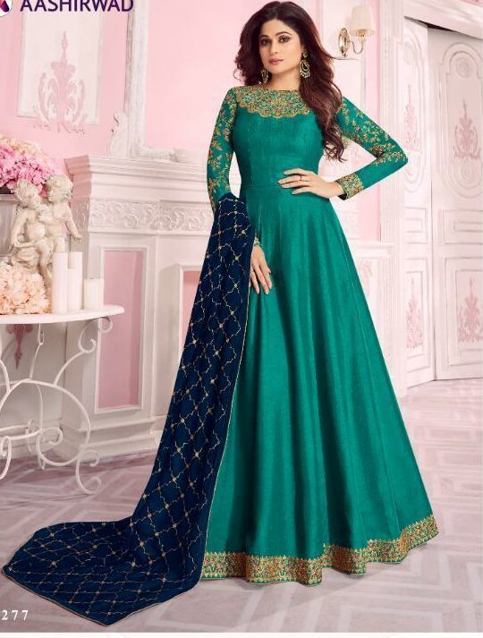 Dola Silk Emerald Green Colour Designer Gown