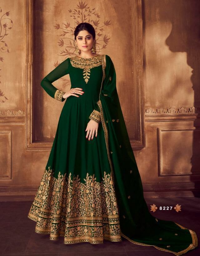 Anarkali Gown Wedding Party Wear Dresses Green Colour Gold Border