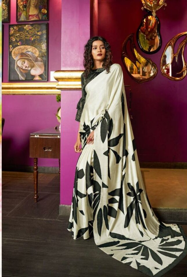 Black White Digital Print Formal Saree Look for Office