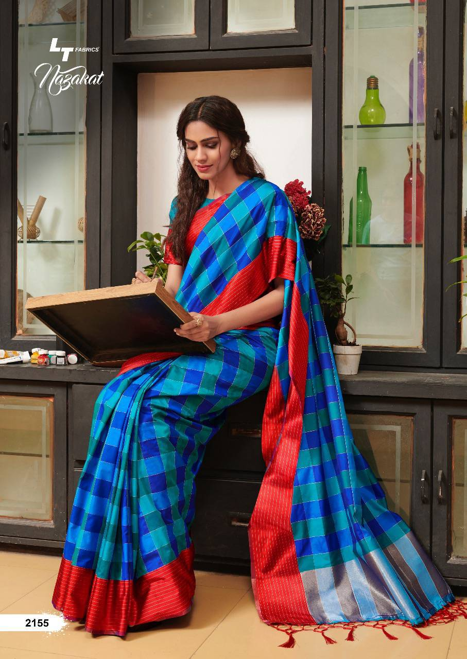 Blue Saree With Red and Gold Border