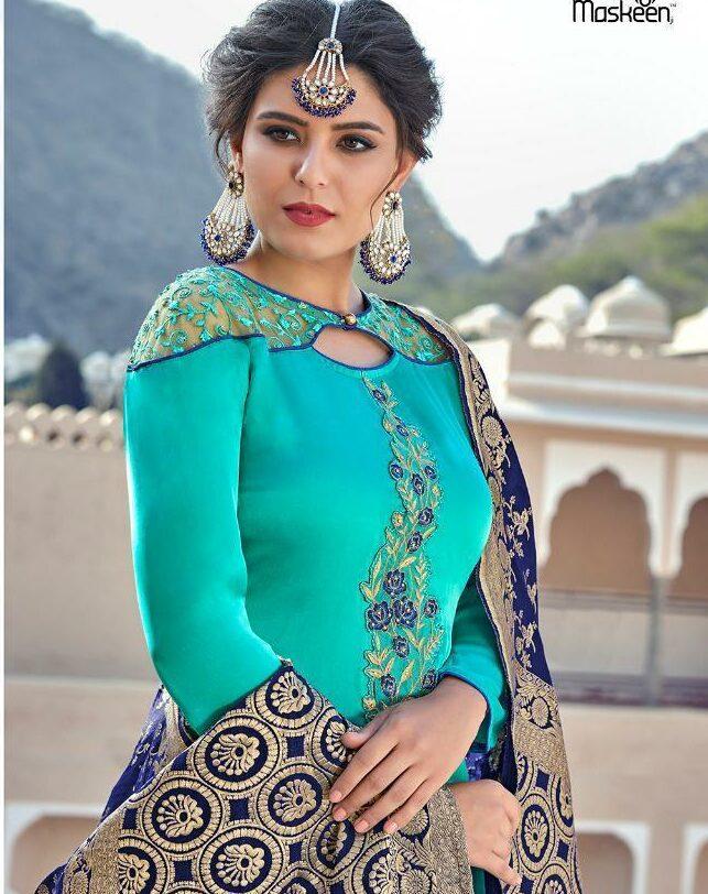 Maskeen Turquoise Colour Designer Punjabi Salwar Suits