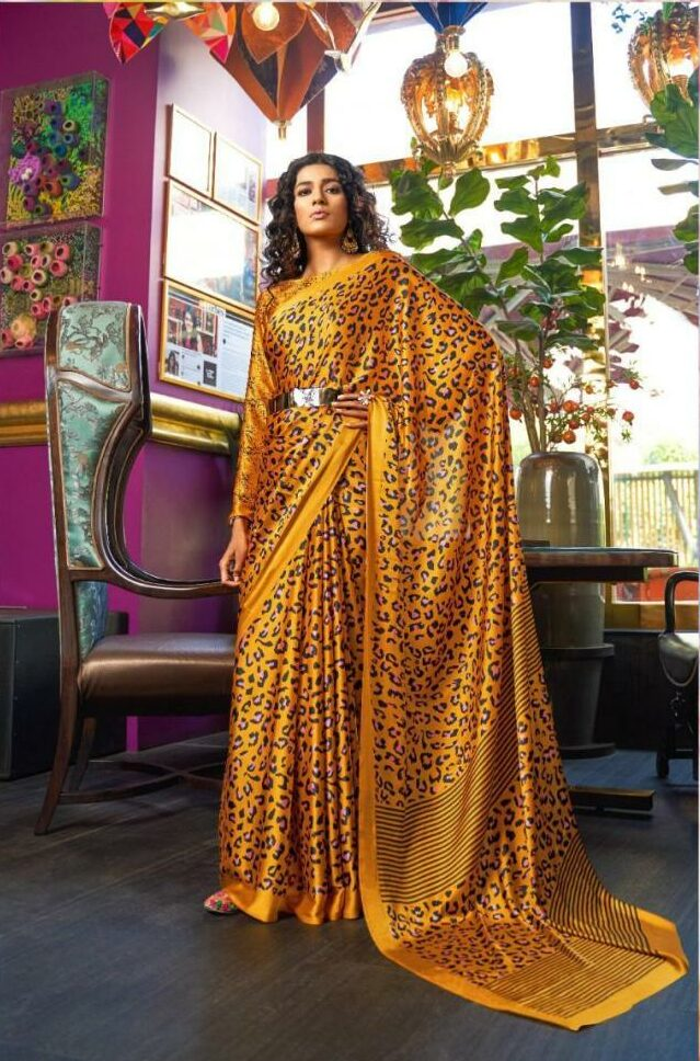 Office Wear Saree in Yellow Colour