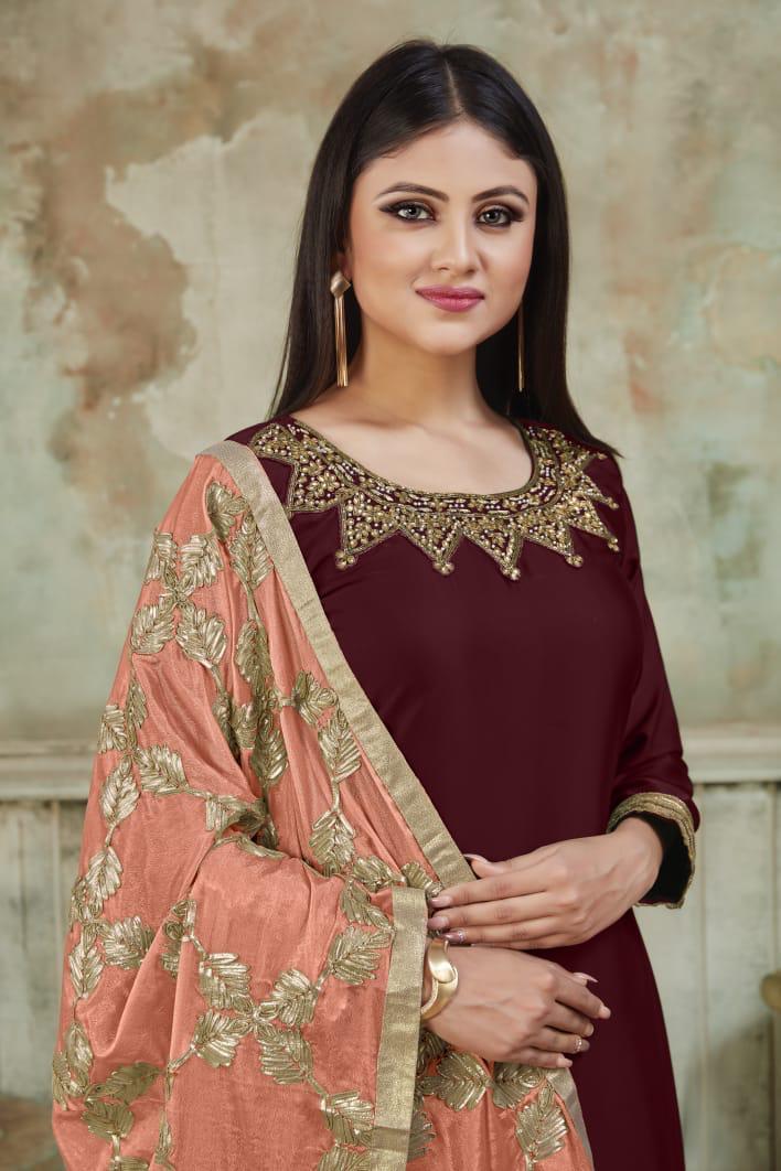 Punjabi Heavy Dupatta Salwar Suits Patiala Style Maroon Colour