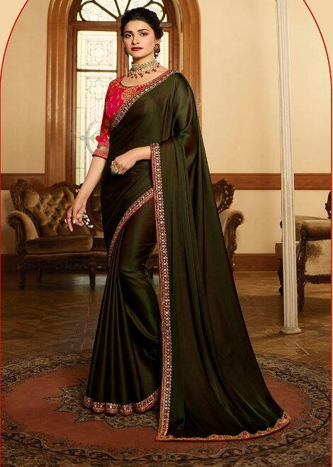Stable Brown Saree with Contrast red Designer Blouse
