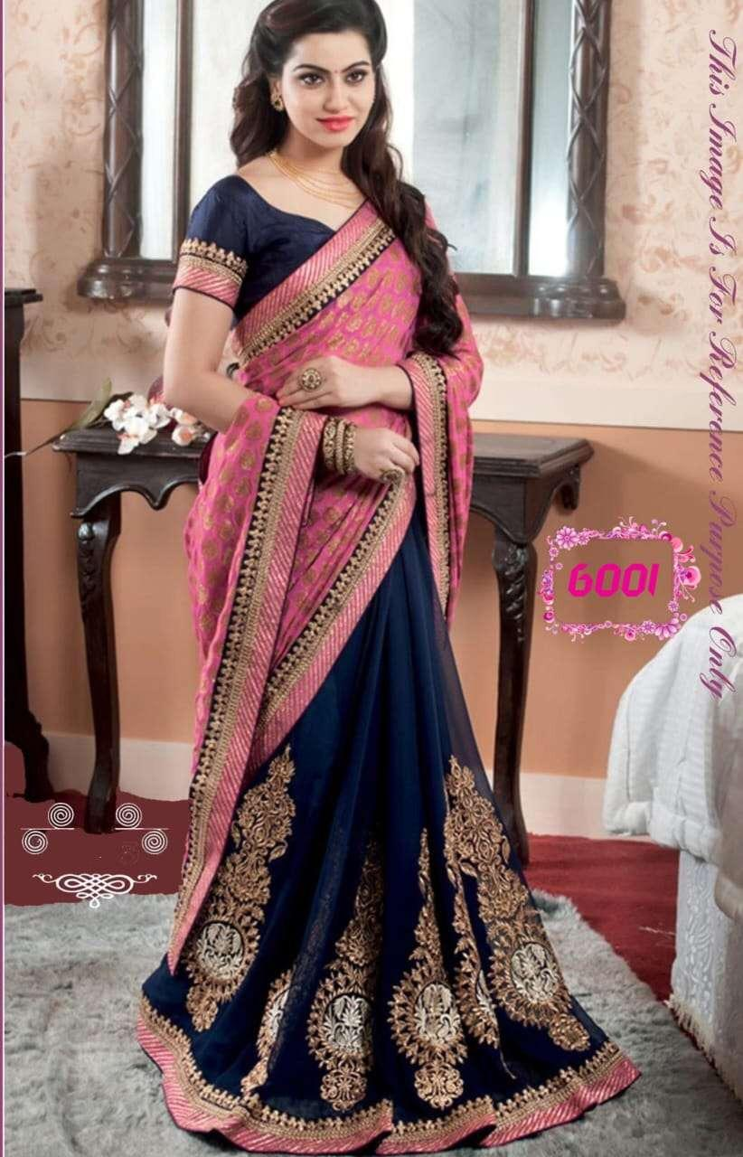 Blue Lehenga with Pink Choli Latest Designer Silk Lehenga