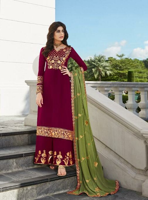 Chhoti Saradarni Style Designer Embroidered Palazzo Dress Material