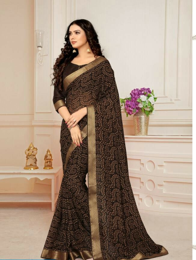 Chocolate Brown Colour Saree