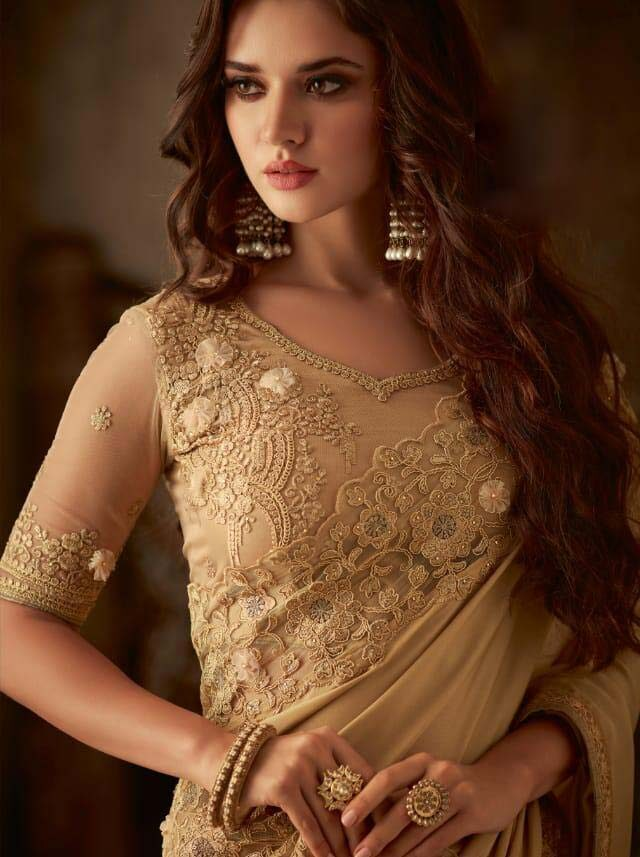 Cream Colour Heavy Embroidered Saree with Designer Blouse