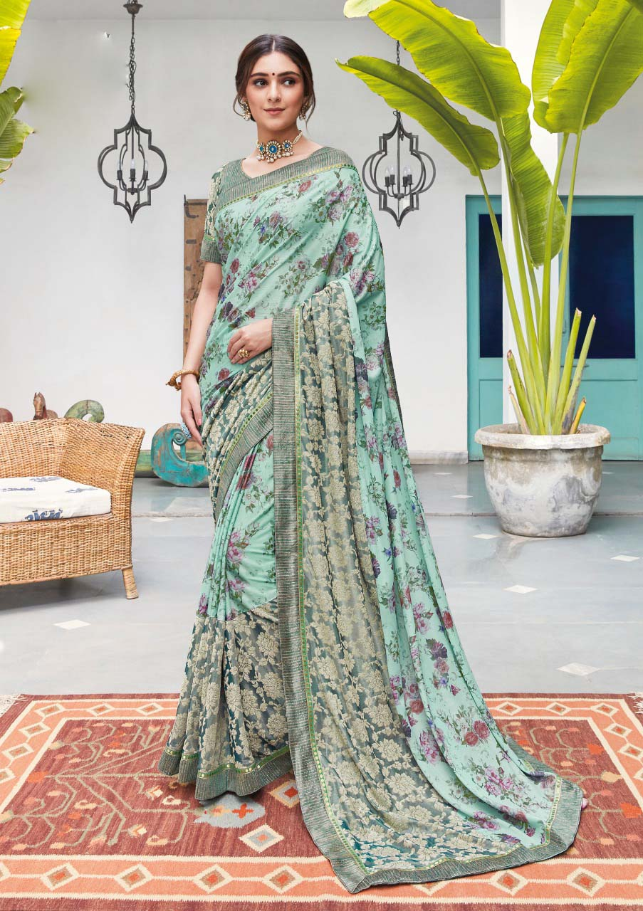 Digital Print Soft Silk Bollywood Wear Saree