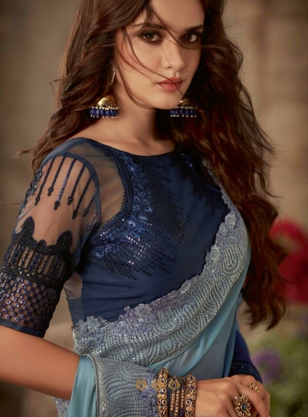 Double Shade Saree in Star Embroidery