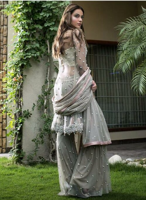 Grey Colour Net Salwar Suit Designs
