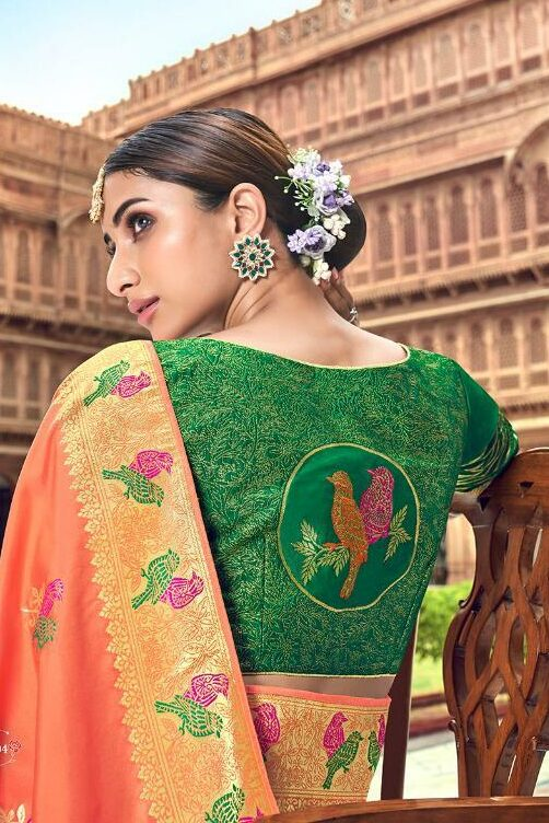 Peach Color Saree with Contrast Blouse