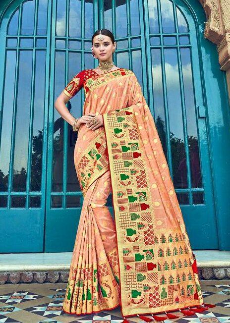 Peach Colour Wedding Silk Sarees