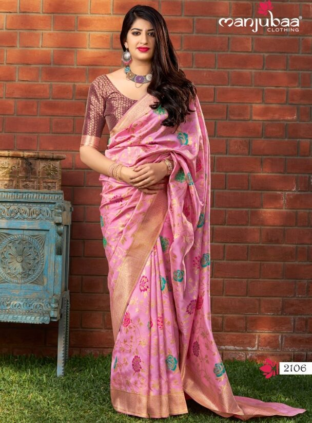 Pink Banarasi Saree with Contrast Blouse