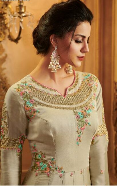 Saira Cream Colour  Double Layered Combination Gown