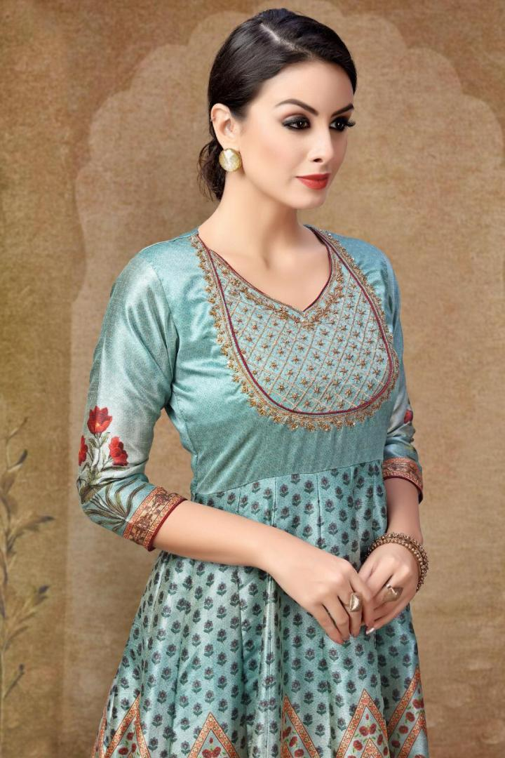 Sky Blue Digital Tussar Silk Gown with Hand Work