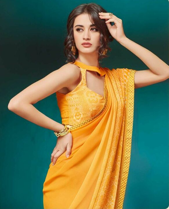 Yellow Georgette Saree with Designer Blouse