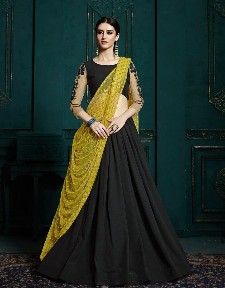 designer lehenga blouse in Black
