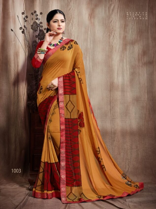 georgette saree with Banaarsi satin border